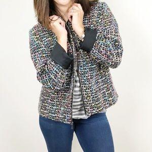 Christopher & Banks black and rainbow tweed jacket